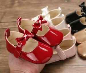 Infant Kid Patent Leather Mary Janes Princess Shoes Newborn Baby Girl Crib Shoes