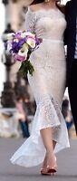 Elle Zeitoune Marchesa White Lace Dress 0 00 Off the Shoulder Scalloped Formal