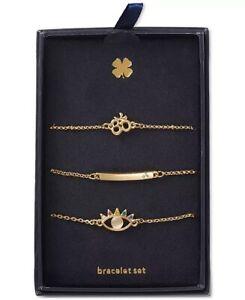 lucky brand gold tone 3 pc set crystal spiritual symbol link bracelets brand new