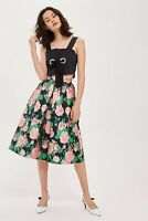 Womens Topshop New Full Midi Prom Vintage Retro style Rose Pleated Skirt Size 10