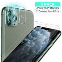 2pcs For iPhone 11 Pro Max Tempered Glass Screen Protector+Camera Lens Protector