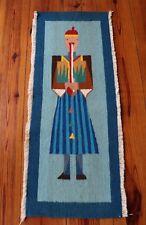 Vintage Art American Native Tribal Interesting Hand Multicolor Woven Wool Rug