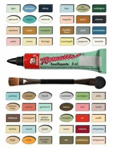 Remalle Emaille Paste Emaillelack Reparaturlack 54 Farben je 8 ml inkl. Pinsel