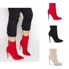 10250e9d827 Womens Ladies Slim Sock Fit Ankle Boots Pointed High Stiletto Heel Party  Shoes