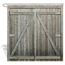 "Rustic Wooden Barn Door Waterproof Fabric Bathroom Shower Curtain & 12 Hooks 71"""
