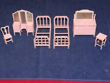 Vintage Diecast Tootsietoy Doll Dollhouse Furniture Beds, Vanities, Rocker 6pcs