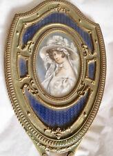 Antique Mirror Guilloche Enamel Bronze H/Painted Portrait Miniature