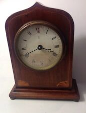 ANTIQUE FRENCH INLAY DESK MANTEL CLOCK WITH KEY