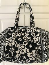 Vera Bradley Night and Day Large Duffel Bag Travel Weekender Black White Retired