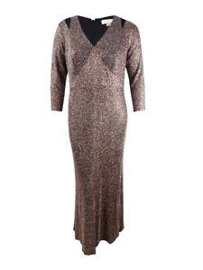Calvin Klein Women's Plus Size Cutout Glitter Gown (16W, Black Multi)