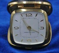 Vintage Westclox Travel Alarm Clock Black Cowhide Germany