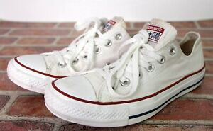 Converse All Star Chuck Taylor White Canvas Sneakers Low Shoes M7652 Sz 8.5 US