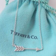 """Tiffany & Co Silver Arrow Pendant Chain 18"""" Necklace with Pouch"""