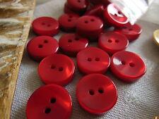 lot 24 épais  petits boutons rouge lumineux couture mercerie diamètre: 1,3 cm TA