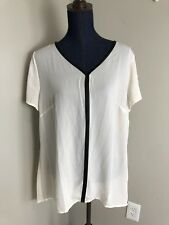 NWT Womens Lane Bryant Sizs 14/16 Short Sleeve Ivory Blouse Faux Leather Trim