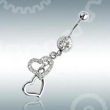 Steel Rhinestone Heart Dangle Body Piercing Button Ball Belly Navel Ring Jewelry