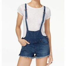4a9472f7056 FREE PEOPLE Strappy Shortall Ocean Blue Denim Jeans Overall Size 25  88 MSRP