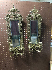 "PAIR Antique ""Dolphins with Urn"" Crest Brass Mirrored Wall Sconces - 2 Feet High"