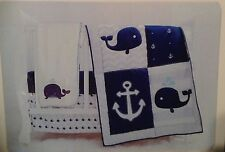 MANHATTAN KIDS 4pc CRIB SET NAUTICA ANCHOR CHEVRON WHALE  BOY BABY NEW