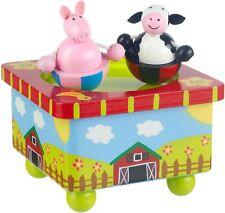 Orange Tree Toys Farm Boîte à musique en bois Spinning Animal Baptême Cadeau BN