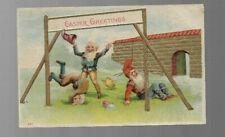 VINTAGE POSTCARD clr emb EASTER GREETINGS 1907 GNOMES PLAYING