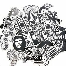 100x Black White Sticker Laptop Skateboard Car Bicycle Luggage Bomb Decals Vinyl