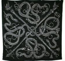 HERMES Black & Gray CADUCEE ROCK 100cm Cashmere Silk Square Scarf