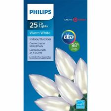 Philips 25 Count Christmas LED Smooth C9 String Lights Warm White~Wedding/Patio