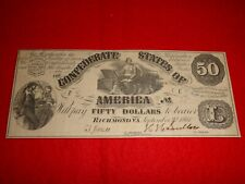 Confederate 1861 $50 T-14 Note Two Digit Serial Number 15