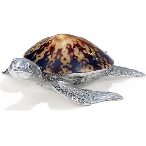 Sea Turtle Natural Sea Shell Pewter Metal Sculpture Figurine Sea Life Decoration