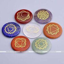 7 Chakras Healing Round Reiki Gemstone Quartz Symbol Carved Stone Art Decoration