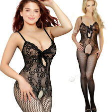 Nighwear Sexy Lace Intimate Detail Bodysuit Bodytocking Bow Fishnet Crotchless