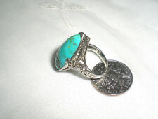 ANTIQUE 18K WHITE GOLD / TURQUOISE RING / Size 3 / Floral Filigree Mounting