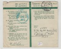 South Africa 1943 Active Service Card To MEF Egypt Censor Postal History J6084