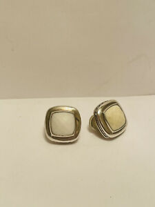 David Yurman Carved Cable Button Earrings with White Agate
