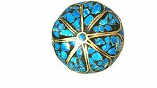 Vintage Made in India Turquoise Color and Brass Brooch pin