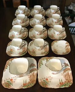 delphine china Woodland Tea Set 38 Pieces. Gilt Edge