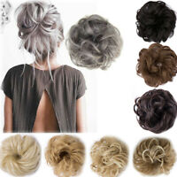 UK Curly Messy Bun Hair Piece Scrunchie Updo Cover Hair Extensions Real as Human