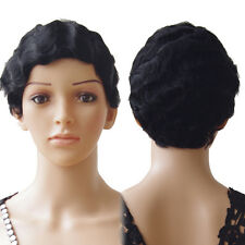 Women Short Black Brown Curly Hairstyle Human Hair Wigs For Black Women Daily Ce