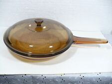 "Corning France Visions 10-3/4"" Amber Skillet with Waffle bottom & Pyrex cover"