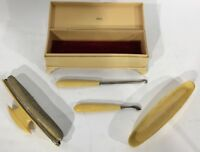 Vintage Art Deco Vanity Celluloid French Ivory Nail Buffer Kit With Case