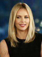 Enchanting Mid-length Straight Blonde Human Hair Wig 12 Inches Celebrity Style