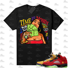 New listing What the 5s Sneaker Tee Shirts Black Time Is Money, Sneaker Match Unisex tee