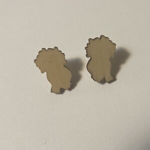 Mini Natural Hair Afro Puff Wooden Stud Afrocentric Earrings