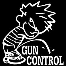 Calvin Piss On Gun Control Pro Car Truck Window Wall Laptop Vinyl Decal Sticker.