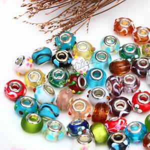 50pcs Wholesale Lampwork Murano Glass Beads Fit European Charm Bracele
