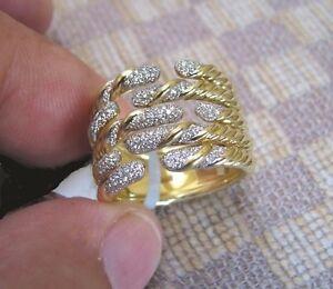 NEW DAVID YURMAN WILLOW FIVE-ROW 18K YELLOW GOLD RING WITH DIAMONDS retail $5300