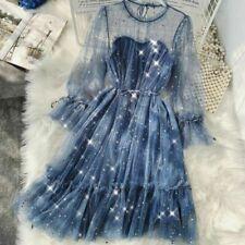 Ladies Lolita Hollow Out Dresses Star Sequins Vintage Mesh Elegant Fairy Gothic