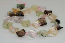 18-16MM  MIX QUARTZ GEMSTONE TWIST DIAMOND LOOSE BEADS 7.5""