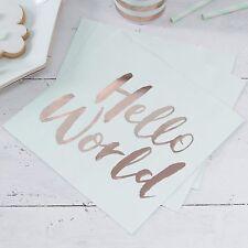 20 Servietten Hello World 33x33 cm - Mint Gold Geburt Geburtstag Deko Baby Party